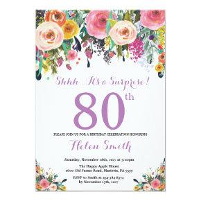 Floral Surprise 80th Birthday Invitation Purple