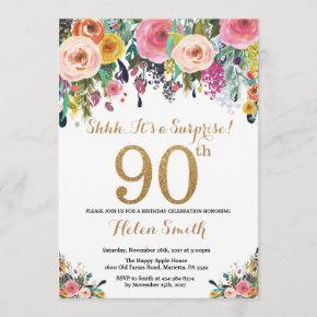 Floral Surprise 90th Birthday Invitation Gold