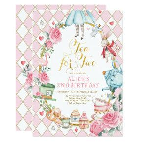 Floral Tea for Two Alice in Wonderland Birthday Invitation