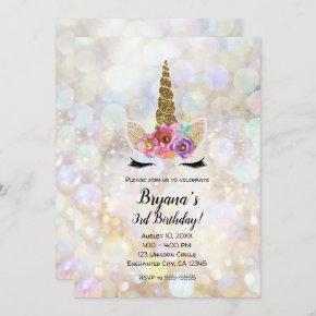 Floral Unicorn Horn Cosmic Glitter Birthday Party Invitation