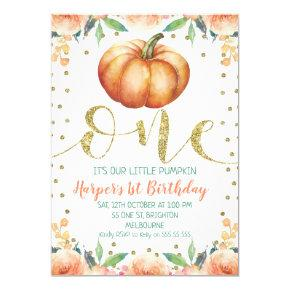 Floral watercolor Pumpkin 1st Birthday Invitation