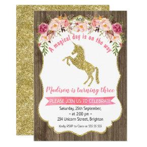 Floral Wood Faux Gold Unicorn Birthday Invitation