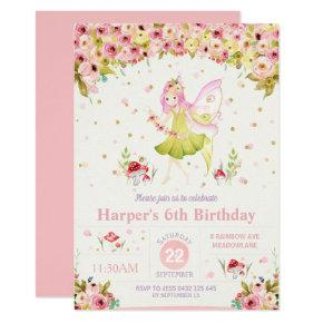 Floral Woodland Fairy Birthday Invitation Girl