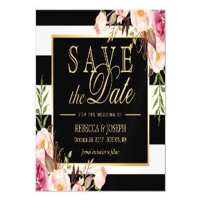 Floral Wrapped Black & White Striped Save the Date Magnetic Card
