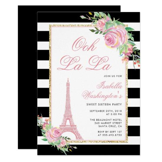 Flowers Eiffel Tower Birthday Party Invitation Candied Clouds