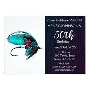 Fly Fishing Themed 50th Birthday Invitation