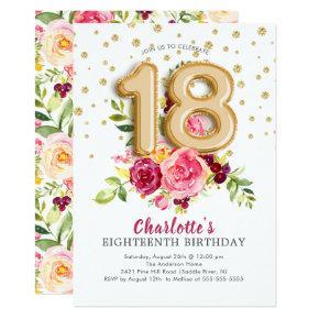 Foil Balloon Floral 18TH Birthday Invitations