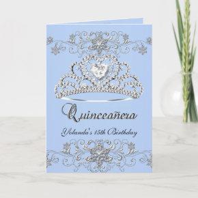 Folded Quinceanera Blue Glitter Tiara Photo Invitation