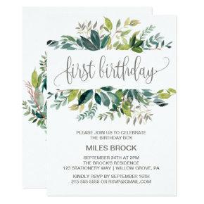 Foliage First Birthday Invitation