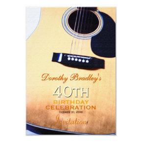 Folk Guitar 40th Birthday Party Custom Invitation