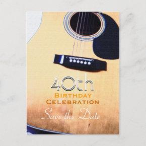 Folk Guitar 40th Birthday Save the Date PostInvitations