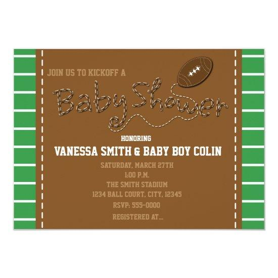 FOOTBALL BABY SHOWER Typography Party Invitation