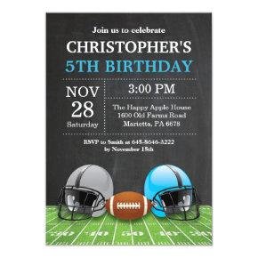 Football Birthday Invitation Birthday Party Blue