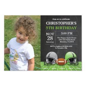 Football Birthday Invitation Birthday Party Green