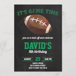 Football Boy Birthday Party Chalkboard Sports Invitation