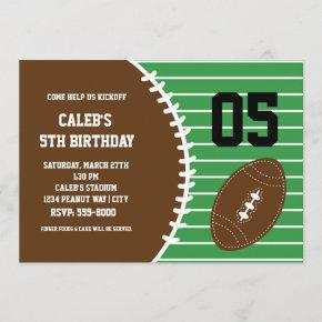 Football Cute Stitched Birthday Party Invitation