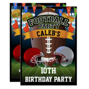 Football Field & Team Helmets Birthday Party Invitation