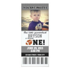 Football First Birthday _ GREY/BLACK Invitations