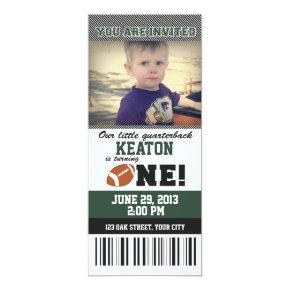 Football First Birthday Invitations