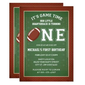 Football First Birthday Party Invitation