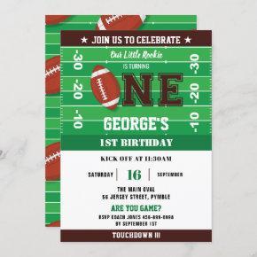 Football Green Black One 1st Birthday Party Invitation