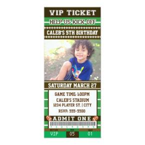 FOOTBALL Green & Brown PHOTO TICKET Invitations