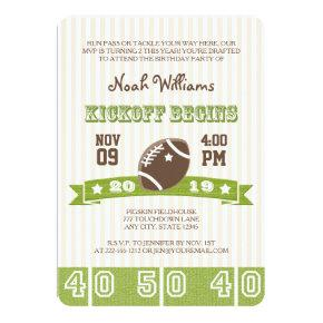 FOOTBALL KICKOFF ANY AGE BIRTHDAY Invitations