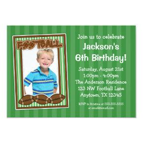 Football Photo Birthday Party Green Invitations