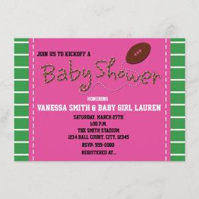 FOOTBALL PINK BABY SHOWER Typography Invitation
