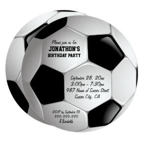 Football Soccer Ball Birthday Party Invitation