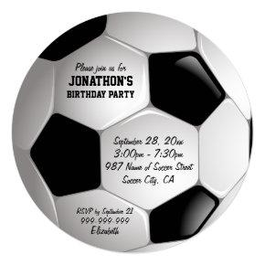 Football Soccer Ball Birthday Party Invitations