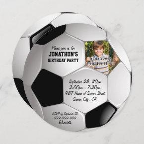 Football Soccer Ball Photo Birthday Party Invitation