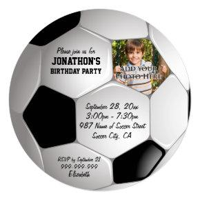 Football Soccer Ball Photo Birthday Party Invitations
