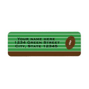 Football Sports Green Brown Party Address Label