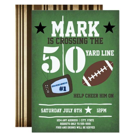 Football Themed 50th Birthday Invitations Candied Clouds