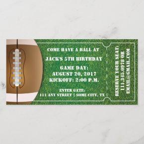 Football Themed Ticket Invitation for Birthday