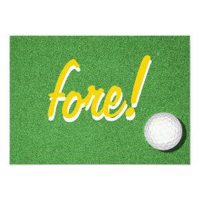 Fore Golf Birthday Party Invitation