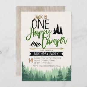 Forest Camper Birthday Invitation Camping Party