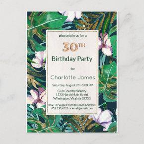 Forest Green Lilac Gold Tropical Floral Birthday Invitation Post