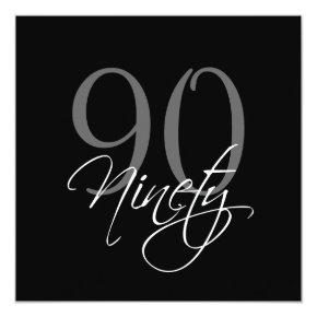 Formal Black Grey 90th Birthday Invitations