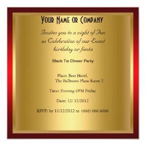 Formal Black Tie birthday Party Invitation