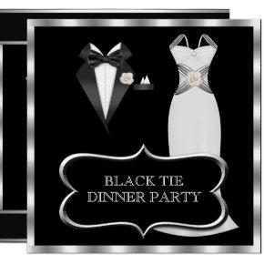 Formal Dinner Party White Black Tie Invitation