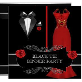 Formal Dinner Party White Black Tie Red 2B Invitation