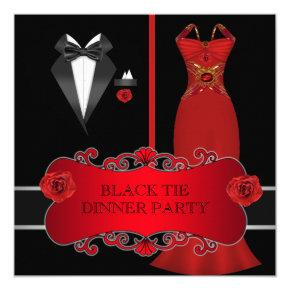 Formal Dinner Party White Black Tie Red 2C Invitations