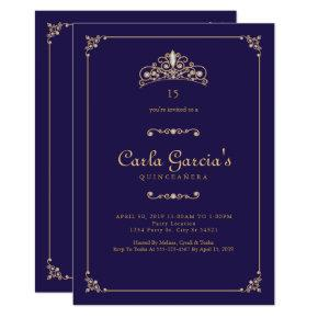 Formal, Gold Quinceanera Invitations