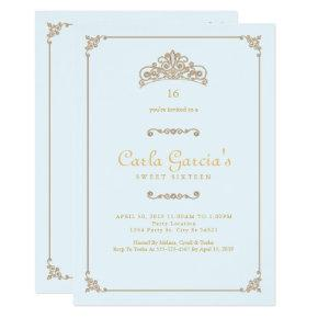 Formal, Gold Sweet 16 Invitations