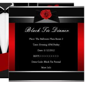 Formal Red Black Tie Dinner Corporate Invite