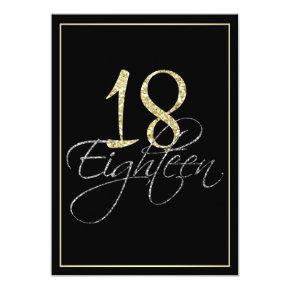 Formal Silver Black and Gold 18th Birthday Party Card