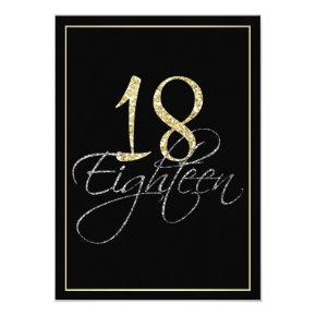 Formal Silver Black and Gold 18th Birthday Party Invitations