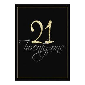 Formal Silver Black and Gold 21st Birthday Party Invitations